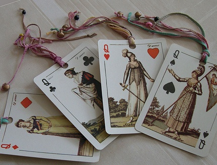 Homemade bookmarks are a great gift. Use playing cards, fabric, textured papers, ribbon, beads - the possibilities are endless.
