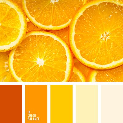 Orange-lemon color composition, from which the soul becomes warm and sunny. Light lemon yellow, ocher nature combined with a deep orange color. Such paints have a healthy effect. They help to raise the mood, to create a home atmosphere of celebration and fun. The palette is particularly suitable for interior decoration kitchen, dining room, living room.