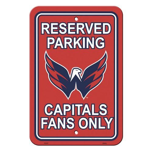 "Washington Capitals Fan Parking Signs. Show your team spirit proudly with this 12"""" x 18"""" Parking Sign. Each sign is made of durable styrene plastic. The officially licensed Capitals magnets are deco"