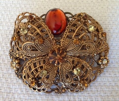 Stunning Vintage Amber and  Multi Rhinestone Butterfly by 4Seas, $22.00