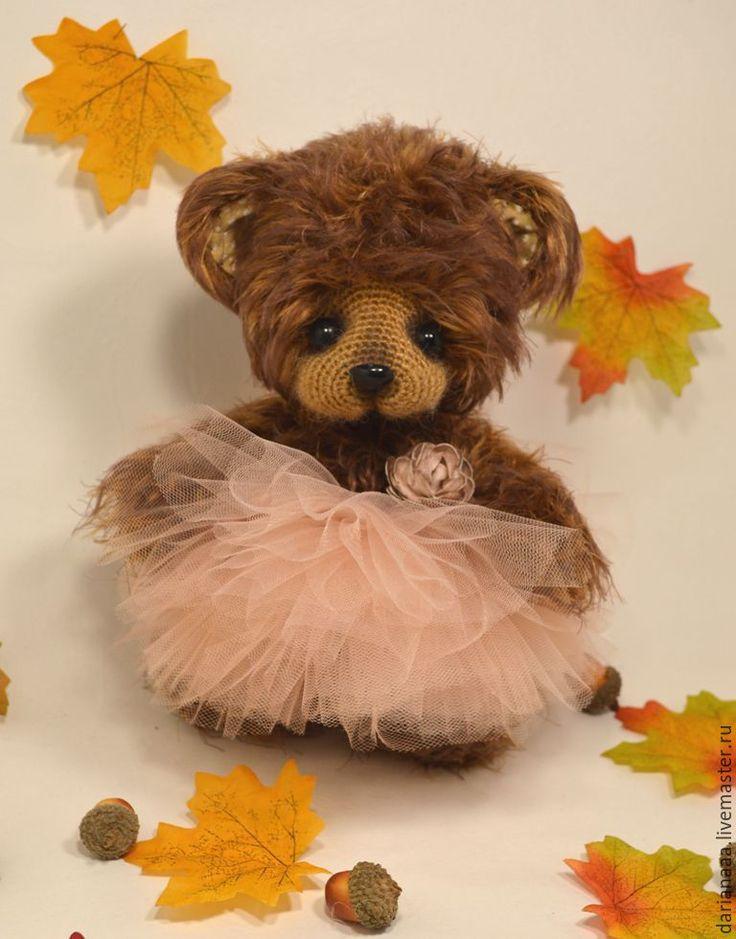Купить Мишутка - коричневый, мишка, вязаная игрушка, подарок, сувениры ручной работы, холофайбер, мохер