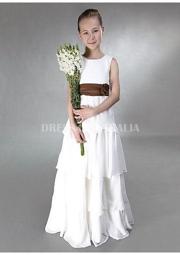 Cheap and Australia Princess White A-line Scoop Neckline Ruffled Chiffon Skirt Long Junior Bridesmaid Dresses from Dresses4Australia.com.au