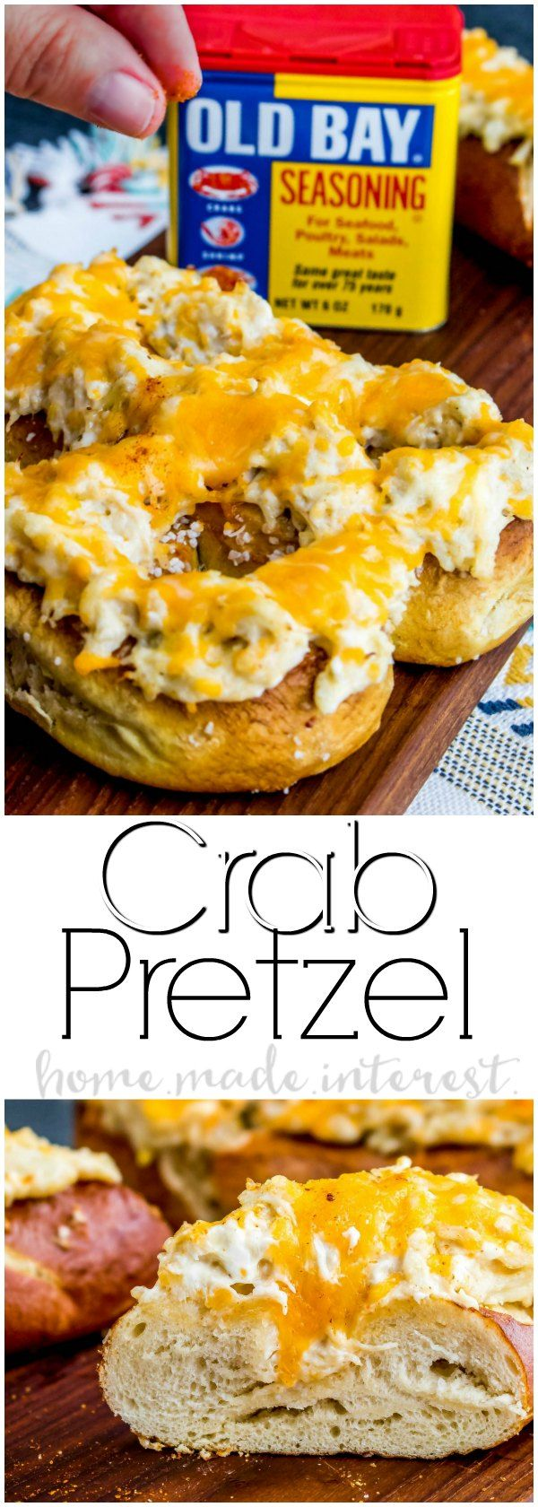 Crab Pretzel   A warm soft pretzel and an amazing crab dip recipe make this Crab Pretzel the ultimate party appetizer. This crab pretzel is covered in creamy crab dip and topped with melted cheese. It makes a great football party appetizer or football party food. Make this easy crab dip for your family and watch it disappear!  #ad #IdOLDBAYThat #OLDBAYCrabPretzel