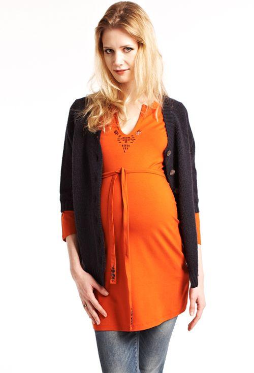Queen Mum zwangerschapstuniek mandarin red