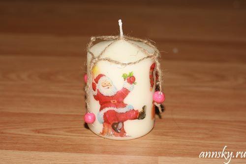 Декупаж свечи горячей ложкой - Ярмарка Мастеров - ручная работа, handmade