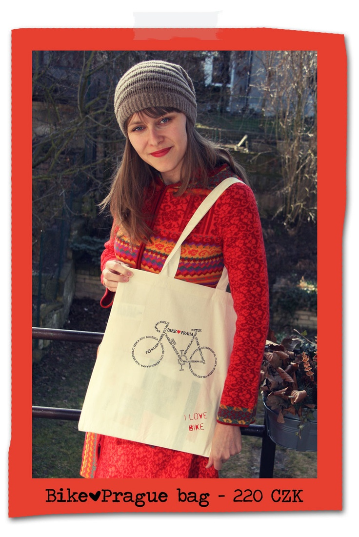 In this collection about  Prague and its many styles we wanted to include this classic design which is simply Prague in a nutshell  or, more precisely, Prague in a bike frame!    We have tried to include in the words that compose the bike as many essential  things about Prague as we could.