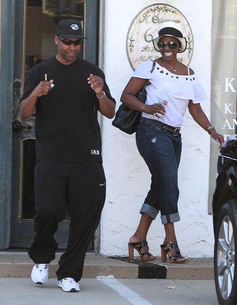   Actor Denzel Washington and his wife Pauletta Washington out shopping ...