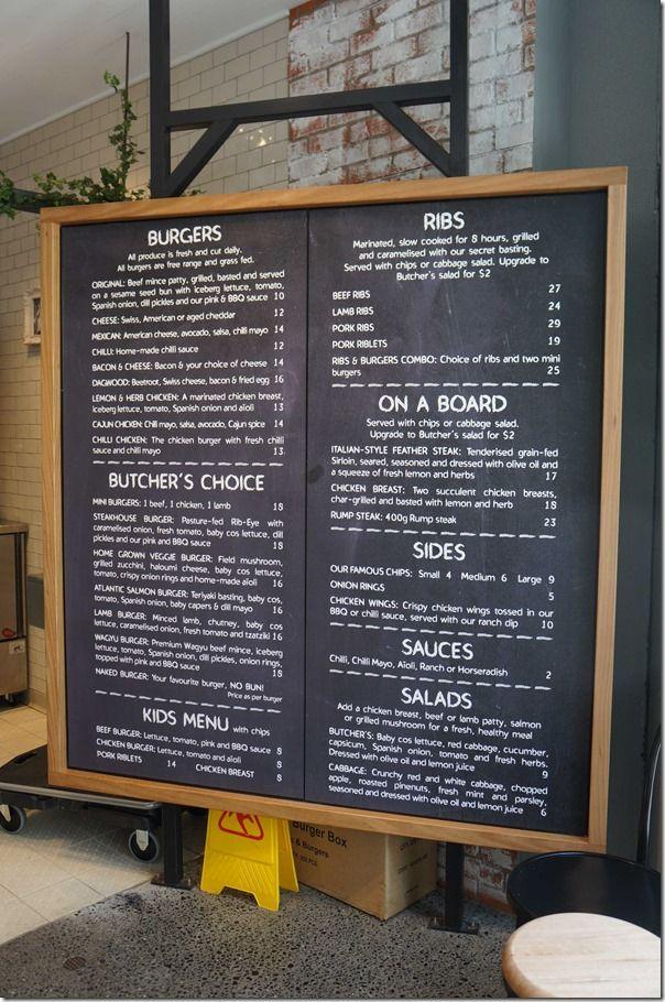 Blackboard menu, BBQ Ribs & Burgers, Rhodes, Sydney, Australia