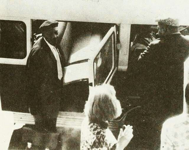 Sonny Boy Williamson and Willie Dixon boarding tour bus in Baden Baden, Germany 1964