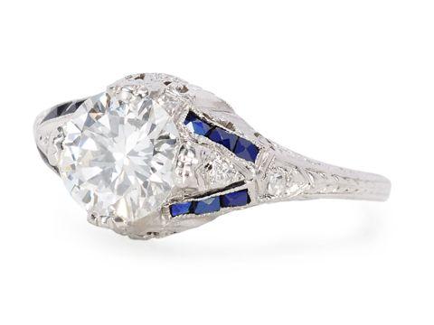 Great Love: Art Deco Diamond Sapphire Ring - The Three Graces