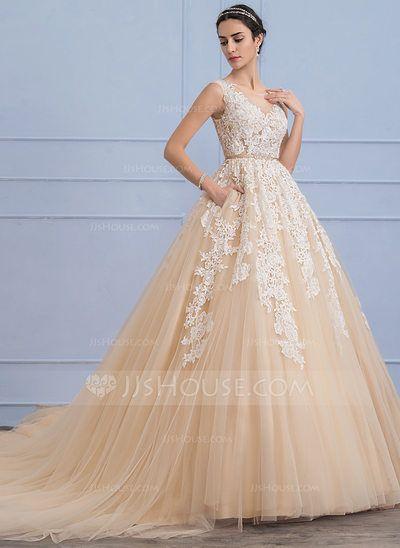 [Kr 2 390] Balklänning Rund-urringning Domkyrkan Tåg Tyll Spets Bröllopsklänning med Beading