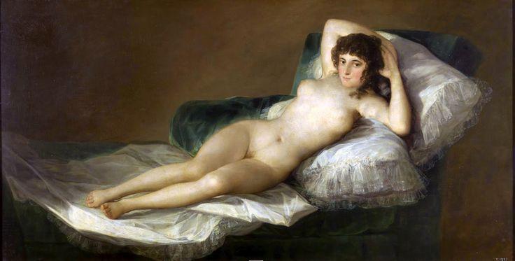 """Nude Maja - 1800 Франциско Гойя """"Маха обнаженная""""( герцогиня Каэтана Альба позировала)"""