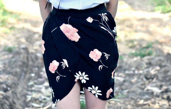 Black flower print tulip skirt. summer skirt. mini skirt.black skirt. small size.wrap skirt.. $45.00, via Etsy.