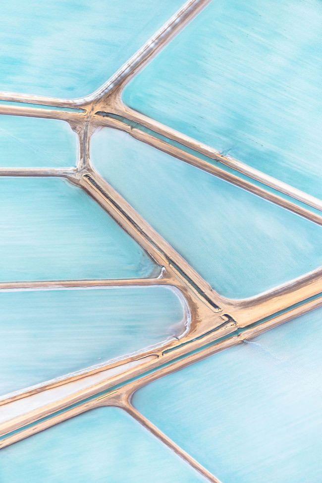 Blue Fields by Simon Butterworth.  The Shark Bay Salt Works in Useless Loop, Western Australia.