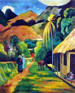 Paint in Tahiti  (image is 'Road in Tahiti' by Gauguin)
