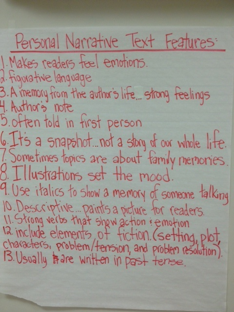 These are some text features my fifth graders came up with for personal narratives.  We added to our list as I read more personal narratives to the class throughout our unit of study.