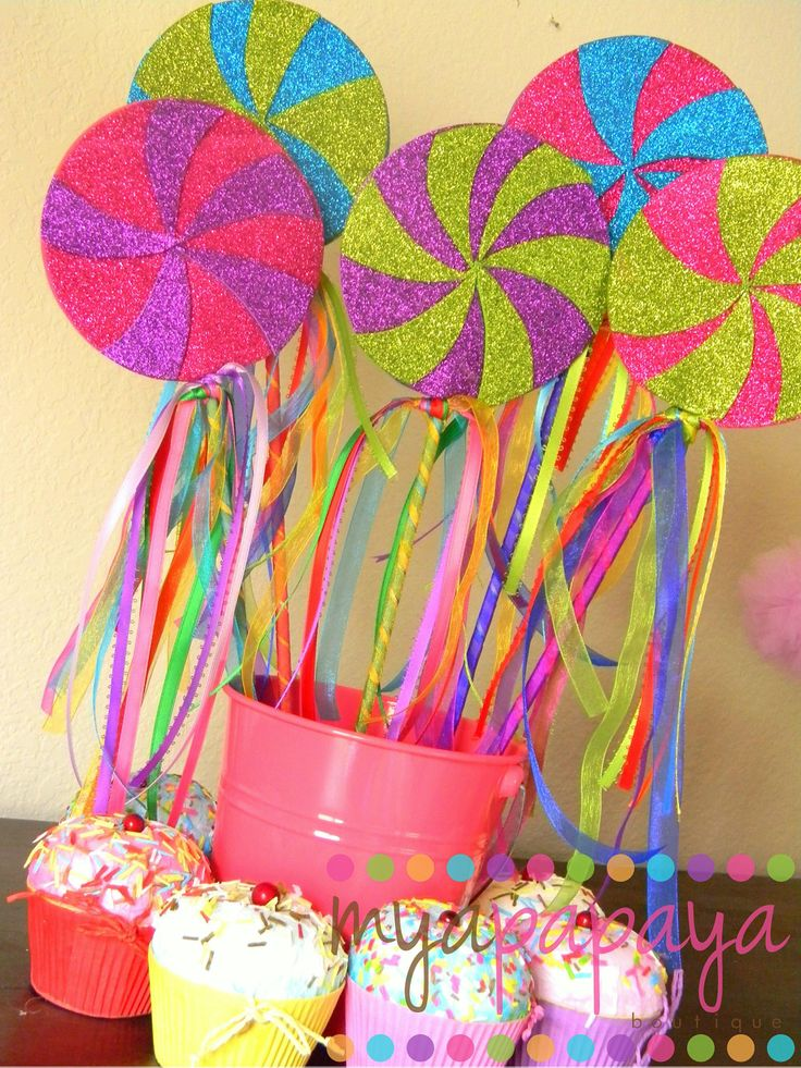 Eye popping color for candyland party favors or centerpieces - Lollipop Wands #candyland #party #DIY