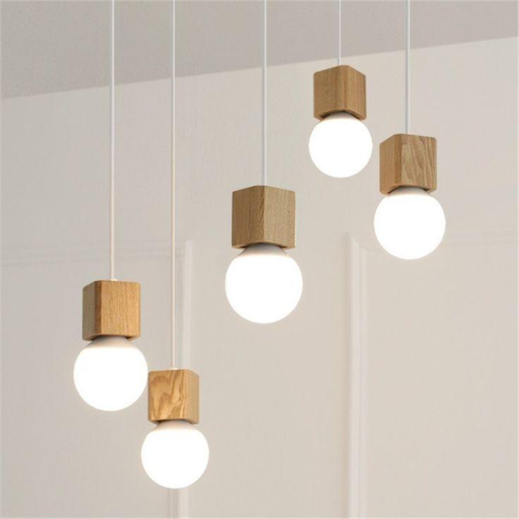 Moderne Eiken Hout Hanger Lichten Retro lamp 120 cm kleur draad E27/E26 Socket Lamphouder Opknoping lamp Verlichtingsarmaturen schorsing in                    van hanglampen op AliExpress.com | Alibaba Groep