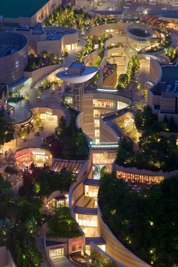 I think we should build within nature and not cram nature into the built world. It's backwards, but this is a very pretty place still. Namba Parks, Osaka, Japan