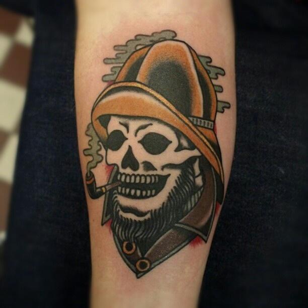 fisherman skull smoking a pipe // traditional style tattoo // Joel Albertsson