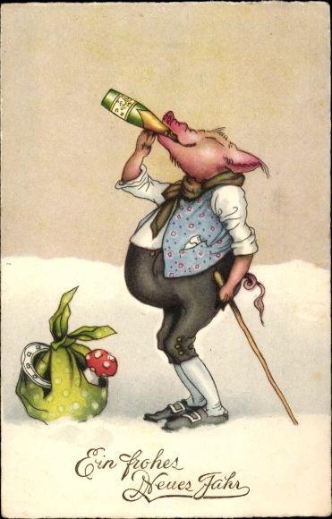 Ak Glückwunsch Neujahr, Schwein trinkt Sekt, Hufeisen, Fliegenpilz