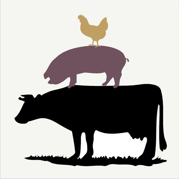 Farm Stencil COW PiG CHICKEN stack Large 3 by SuperiorStencils, $15.50