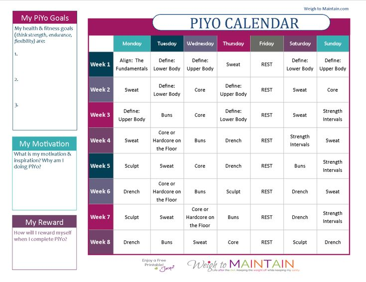 Chalene Johnson Piyo Workout Calendar | Printable PiYo Calendar and Workout Schedule - Weigh to Maintain