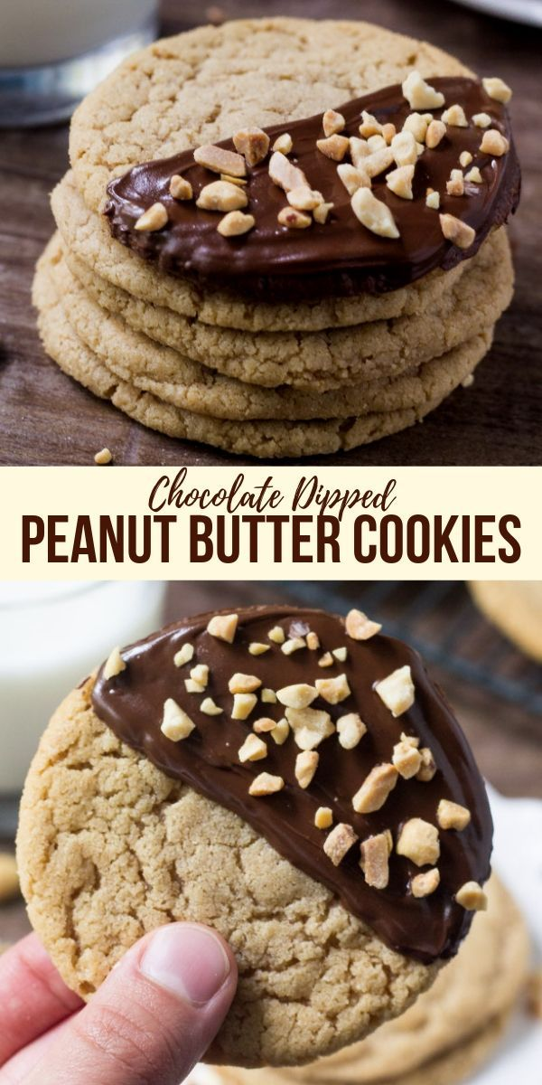 Chocolate Dipped Peanut Butter Cookies – #Butter #…