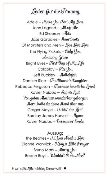 Die schönsten Lieder für die Trauung