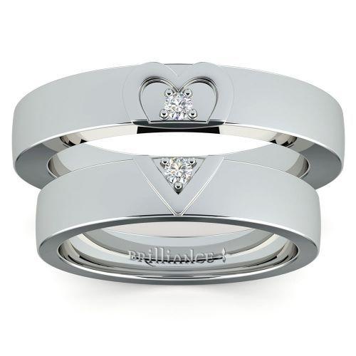 Matching Split Heart Diamond Wedding Ring Set in White Gold www.brilliance.co...