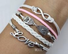 silver infinity owls & love bracelet,women or men personalized bracelet gift