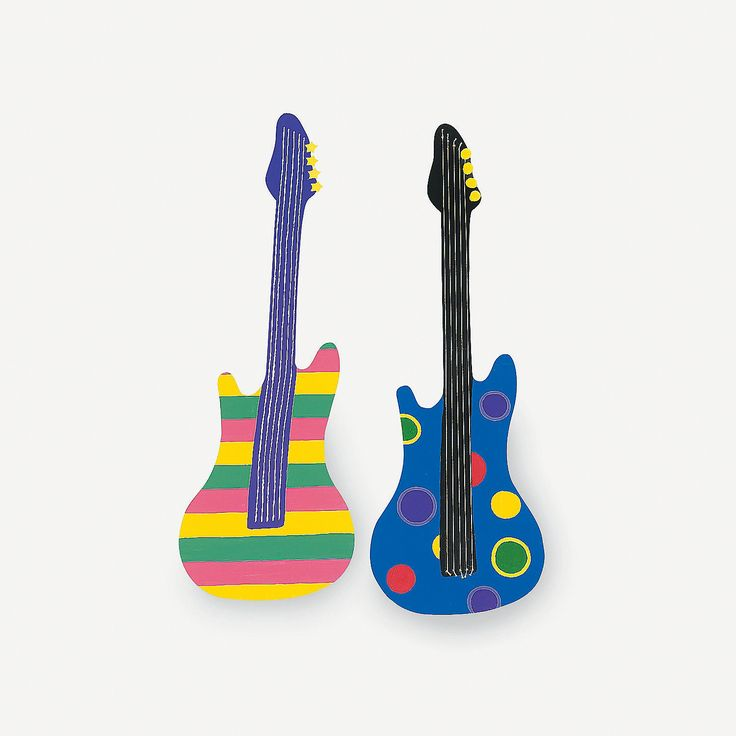 DIY Music Guitars - OrientalTrading.com Need to make 12 of these from card board 6 pink 6 purple! need cardboard uncle Ramon shop lots of it !gold paint for strings and buttons! black for string back ground purple paint pink paint!