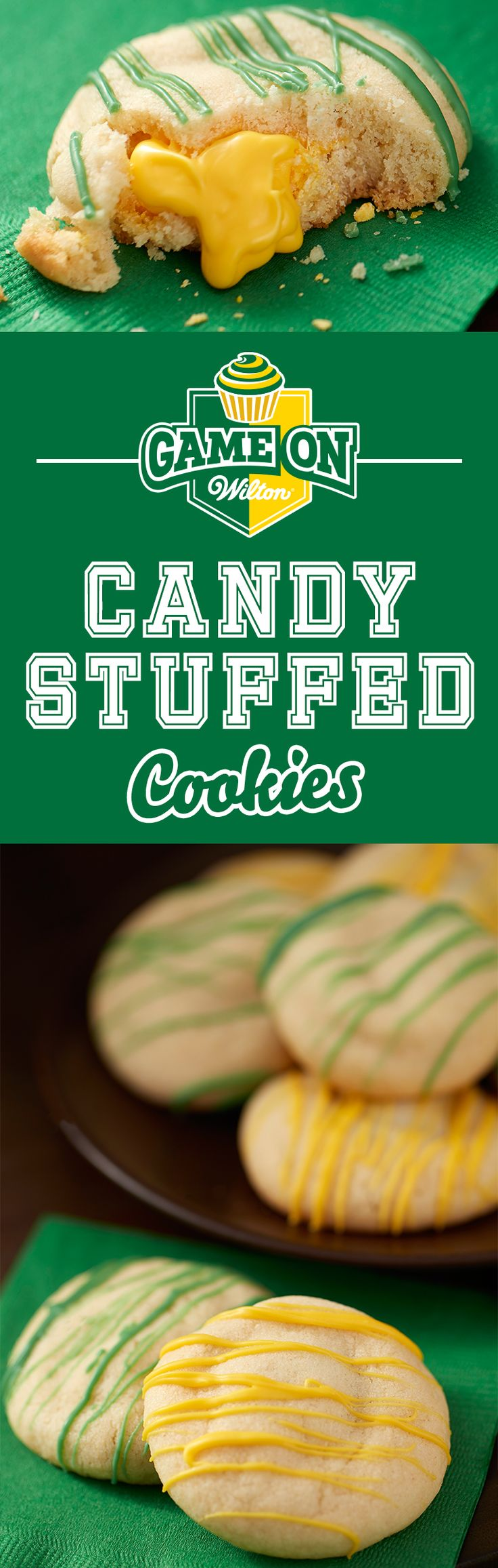 Show your team spirit with Surprise Inside Candy Melts Stuffed Cookies! Colorful…