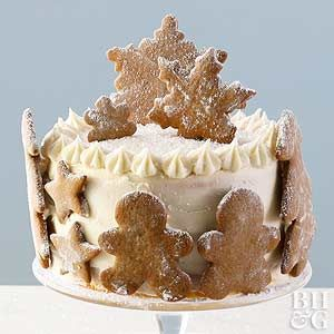 Adorn a Christmas cake with gingerbread cookies for a festive, seasonal touch.
