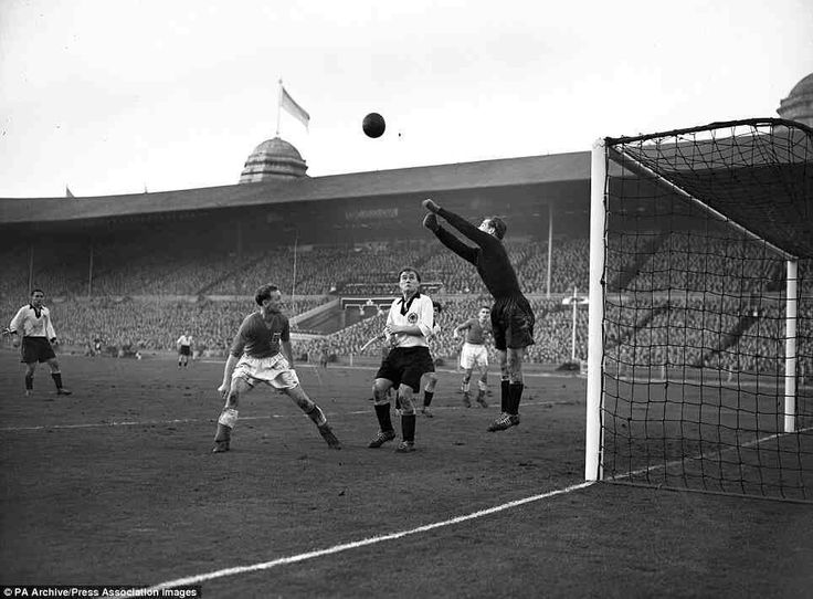 England 3 West Germany 1 in Dec 1954 at Wembley. German keeper Hans Herkenrath clears for the World Champions #Friendly