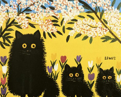Three Black Cats Art Print  www.allposters.com  One of Canada's most beloved folk artists, Maud Lewis (1903 – 1970) painted delightful, childlike images of animals and outdoor scenes. Though she had a difficult life of illness and poverty, she enjoyed the creative process and took great pride in her work. Lewis's house and a group of her paintings form part of a permanent exhibition at the Art Gallery of Nova Scotia.