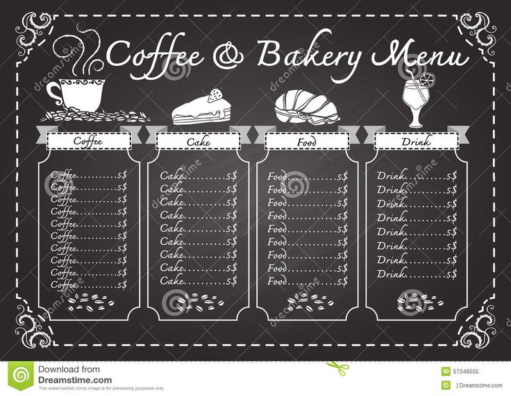 Coffee And Bakery Menu On Chalkboard Template   Download From Over 41  Million High Quality Stock