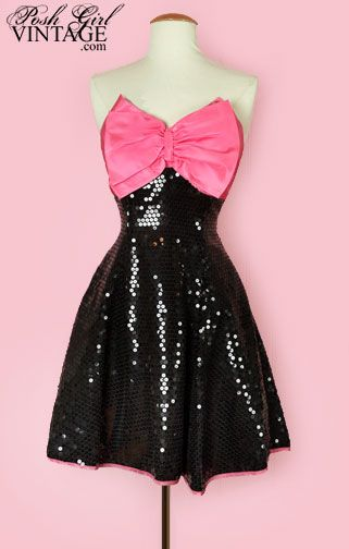 1980's Black Sequins & Pink Bow Party Dress