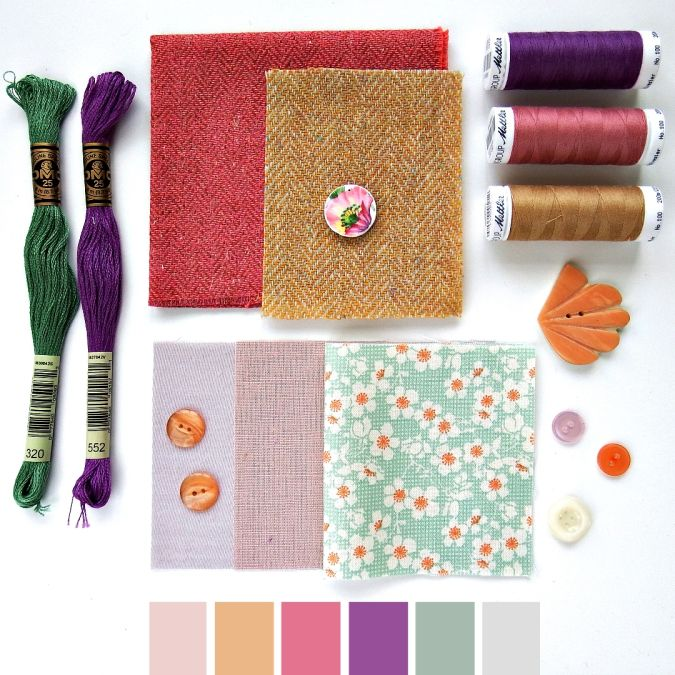 Color curated moodboard by Very Berry for #the100dayproject - purple green pink mustard