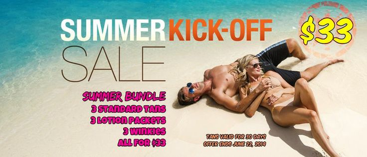 Start Summertime off right with the VIP Tan Salon Summer Bundle Starter Pack 3 Standard Tans 3 Lotion Packets 3 Winkies All for $33. (tans valid for 30 days) Offer ends June 22, 2014  www.viptansalon.com
