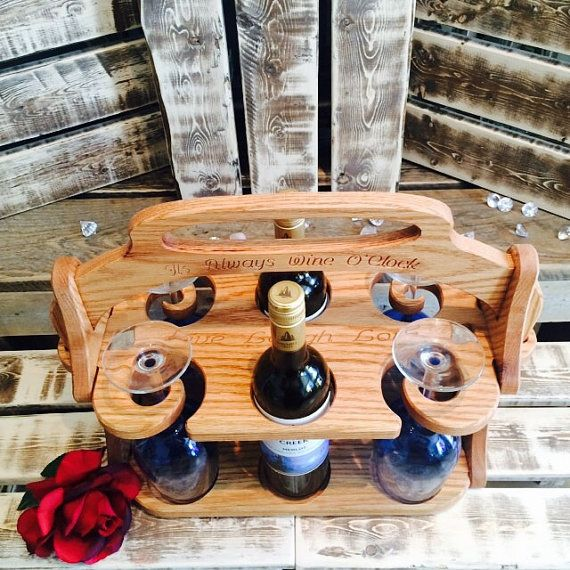 Solid Oak Wine Tote Customized Gift Wine tote by Imagineeringshop