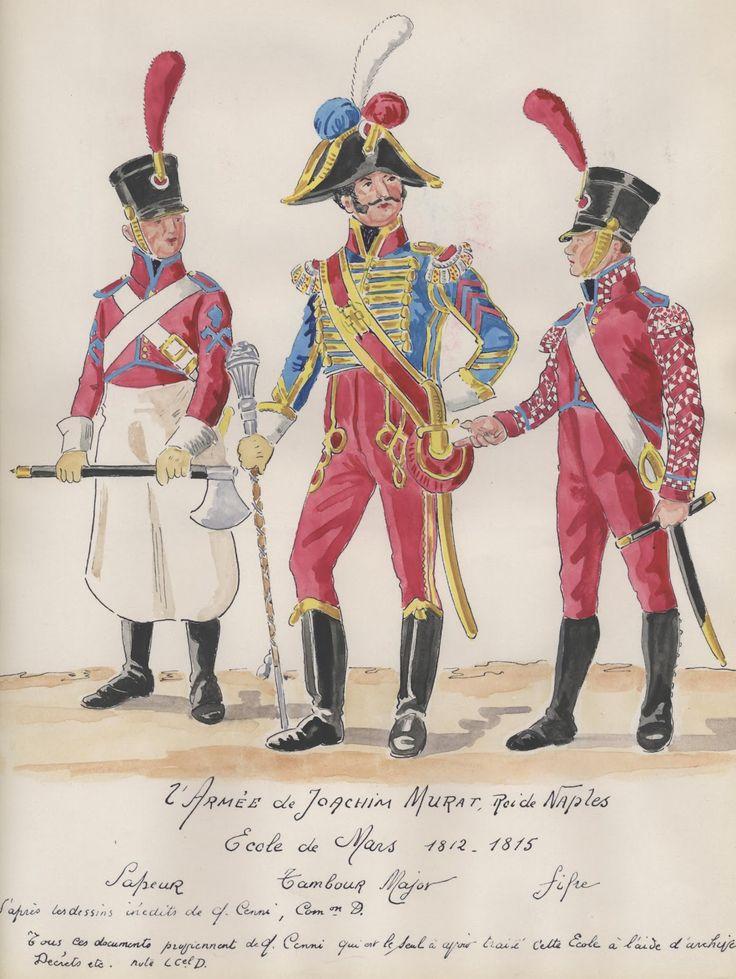 Naples; 2e Armee. 1812-1815. Ecole de Mars. Sapeur, tambour major, fifer.