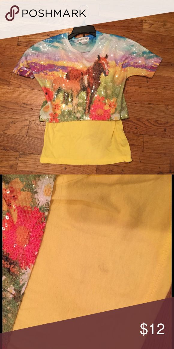 Sequin horse tee with yellow cami size m(7-8) Cute Rocker Girl sequin horse tee with yellow cami.  The cami has a little wear and a small faint mark (see 2nd pic), but top is still in great condition.  It's polyester. Rocker Girl Shirts & Tops
