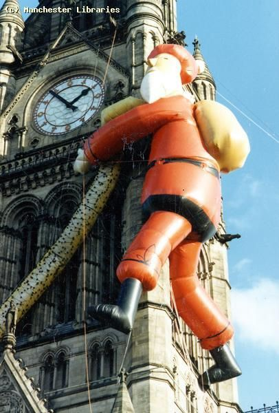 An earlier incarnation of the town hall father Christmas - I think this is the one that deflated and fell off ALL THE TIME.