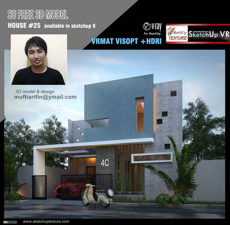 Free Sketchup Model Modern Villa#25, Visopt And Vray