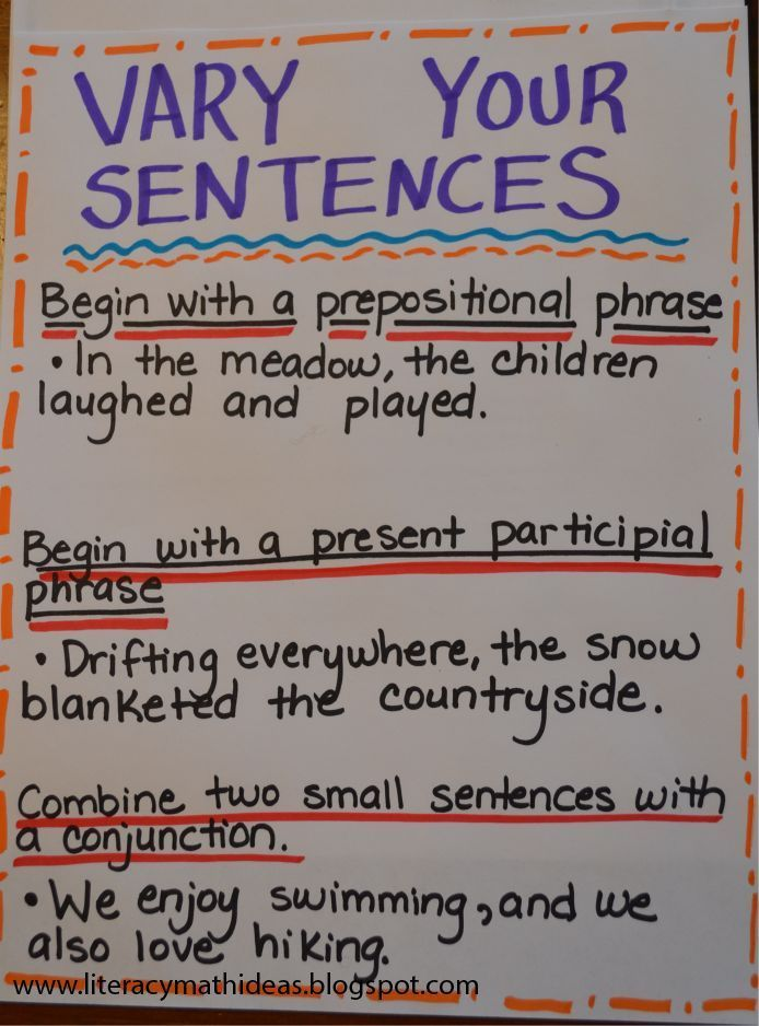 Academic writing examples sentences for kids
