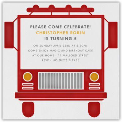 Fire Truck invitation