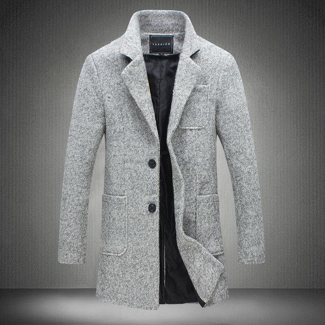 New Long Trench Coat Men Clothing Winter Fashion Mens Overcoat 40% Wool Thick Grey Trench Coat Male Jacket