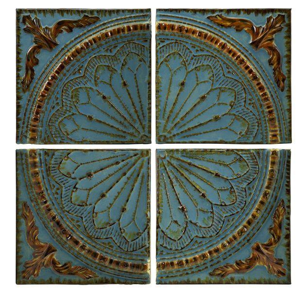 Metal Wall Decor At Kirklands : Tuscan old world turquoise blue embossed medallion metal