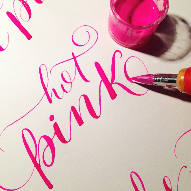 hand lettering hot pink